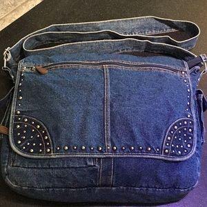 Handbags - Denim XL shoulder crossbody pockets zippers laptop